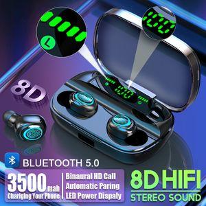 بطارية 3500mAh LED بلوتوث اللاسلكية سماعات سماعات الأذن TWS التحكم باللمس سماعة الرياضة الغاء الضوضاء سماعة الأذن مع حزمة