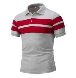 Delgada para hombre de rayas de manga corta camiseta europea y americana de la camisa ocasional de Comercio Exterior para hombre de la camiseta corta