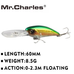Lures Mr.Charles CMC053 Lure 60mm 8.5g 0-2.3M FLOATING D Eyes Fishing Tackle Shad Minnow Hard Baits Crankbait Wobblers Fishing