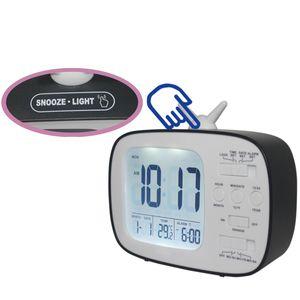 LCD Digital Desk Alarm Clock Bedroom Bedside Snooze Wake Up Light Digital Clock Thermometer