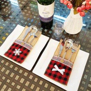 Noel Süsleri Çatal Çanta Keten Gereçler Sahipleri Bıçak Çatal Çanta Masa Şeker Çanta Noel Partisi Düğün Malzemeleri EEA937