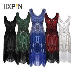IIXPIN Latin Dance Dress Women fringe dress 1920s Cocktail Shiny Sequins latin dance Beaded V-Neck Tassels Hem Flapper Dresses