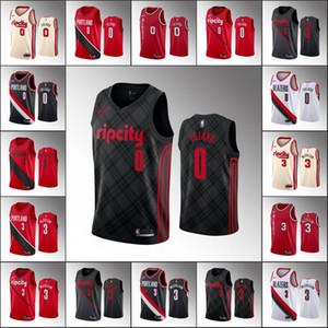 Men PortlandTrailBlazersBasketball Jersey Damian Lillard C.JMcCollumNBA 2019-20 Jerseys