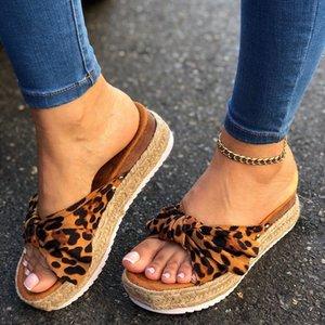 Sexy Leopard-Sommer-Sandelholz-Frauen Bowknot Slippers Blickzeheplattform beiläufige Strand Flip Flops Weibliche Slides Sandalia Feminina