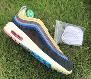 Nike Air Max Retro 97 Shoes Sean Wotherspoon 97s VF SW Corduroy Chaussures de course Chaussures de luxe des femmes de la mode des hommes blanc jaune sneakers