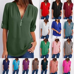 16 renkler Kadınlar Şifon Gevşek Üst T-Shirt Uzun Kollu Fermuar V Boyun T-Shirt Bayanlar Bluz Gömlek üzerinde boyutu LJJA2357