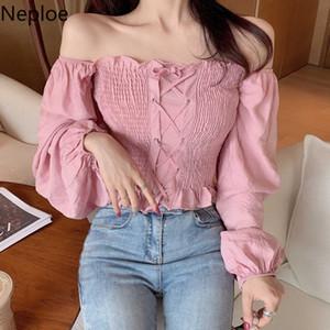 Neploe Short Chiffon Shirt Slash Neck Blusa sin tirantes sexy 2019 Otoño Manga larga Mujer Blusa Cross Lace Up Stretch Tops 54061 SH190914
