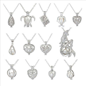 Desejo pérola presente 20 milímetros colar gargantilhas Coração de gaiolas para Mulheres com Oyster amor Pérola cadeia pingente de colar Colar