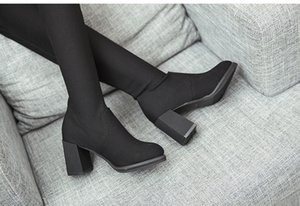Hot Sale-Stiefel Frau mit Overknee Stiefel Elastic Lange Sharp Damenschuhe
