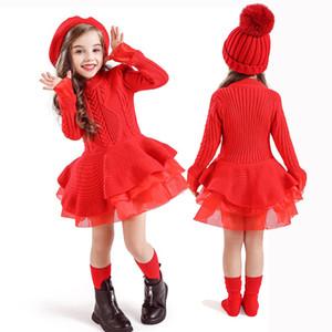Fille d'hiver robe rouge de fête de Noël à manches longues en tricot vêtements chauds vêtements pour enfants Enfants Robes pour filles 3 4 5 6 7 8 ans