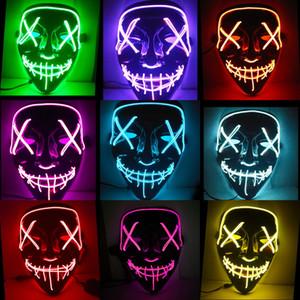 Máscaras Máscara de Halloween Party Led Maske Hasta la luz de neón Maska Cosplay Máscara del horror Mascarillas brillan en la oscuridad Máscara V de Vendetta