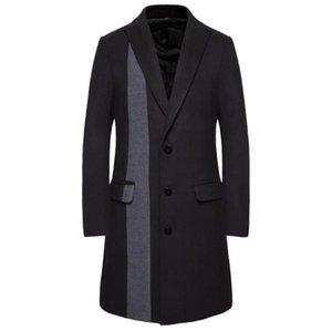 Trench Coats Single Striped Dekoration Mode-Männer Mäntel Schildkröte Ansatz dünne Homme Mäntel Herren Designer Winter-