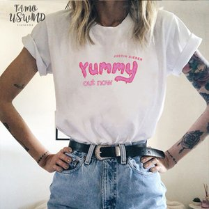 Justin Bieber deliciosa Harajuku tapas de la camiseta camiseta de algodón camiseta de los hombres de las mujeres Camiseta de manga corta Blusas De Moda novio regalo