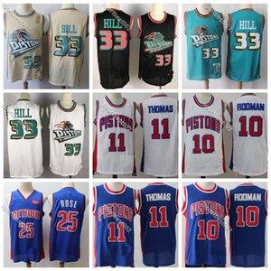 Erkek Basketbol Formalar Grant 33 Tepesi Vintage Isiah 11 Thomas Retro Dennis Rodman 10 Koleji NCAA Dikişli Jersey Gömlek ucuz
