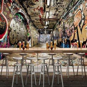 Dropship ordinazione murale Carta da parati 3D Space Via i graffiti hip-hop della barra KTV del contesto della pittura di parete Arte Carta da parati Rivestimento murale Papel De Pared
