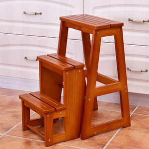 Taburete de madera plegable de 3 niveles Escalera silla Banco de asiento Utilidad multifuncional