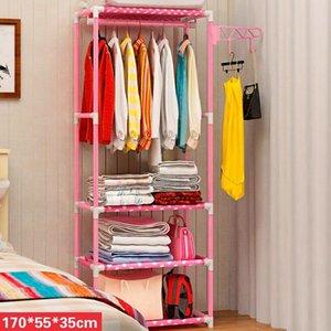 Sencillos metal de hierro perchero Percha dormitorio creativo de la manera ensamblada Planta Permanente Perchero almacenaje de la ropa organizador Y200429