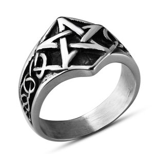 Titanium Steel Five-Pointed Star Ring Viking Stainless Steel Mens Index Finger Ring Geometric Ring Jewelry Manufacturer