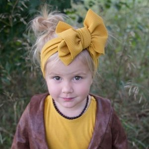 Fashion Baby Girls Big Bow Headbands Elastic Bowknot Hairbands Headwear Kids Headdress Head Bands Newborn Turban Head Wraps Wkha01 OQlNS