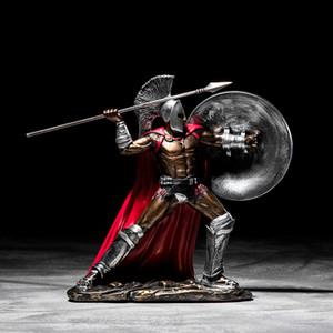 Ancien Rome Ornement Retro Spartan Modèle Spartan Modèle Figurines Craft de la résine Accueil Décor Spartan Statue Statue Figure Décorer Cadeau T200331
