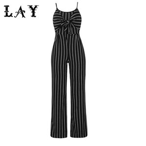 2020 New Elegant Striped Sexy Spaghetti Strap Rompers Womens Sets Sleeveless Backless Bow Casual Wide legs Jumpsuits Leotard Overal