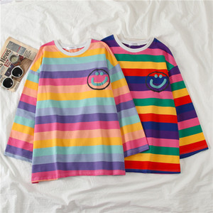 Summer Oversize T-shirt Women Loose Tees Cartoon Printed Splice Striped Long Sleeve Tshirt StudentsGirls Tops Fashion White Tops