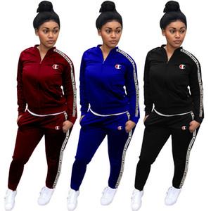 Champions Two Piece Outfits Women Letter Print Jogging Suit Zipper Pocket Long Sleeve Coat Slim Long Pant Set Burgundy Black Blue