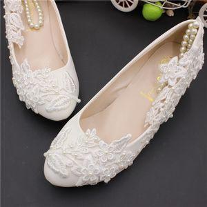 Moda scarpe da sposa tacco basso pizzo bianco con perle cinturini alla caviglia elegante pizzo appliqued donne appartamenti per cerimonia cerimonia scarpe da sposa AL2495