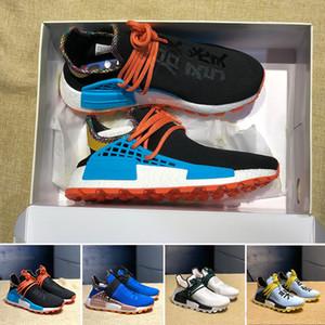 Yeni HU İlham TR İnsan Yarışı Koşu Ayakkabıları Pharrell Williams Clear Sky Toz Mavi Beyaz Kalın Çekirdek Siyah Spor Sneakers