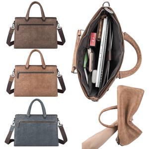 Men Vintage Cowhide Business Crossbody Laptop Messenger Bags Genuine Leather Sling Satchel Shoulder Bag Zipper Organizer Bag Man Briefcases