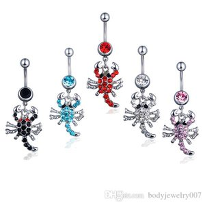 D0074 ( 5 colors ) Belly navel ring Nice The scorpion navel belly ring 20 pcs AQUA color stone drop shipping