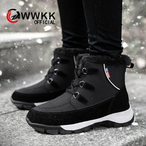 WWKK Women Boots Waterproof Winter Shoes Women Snow Boots Platform Keep Warm Ankle With Thick Fur Heels Botas Mujer 2019