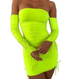 오프 숄더 붕대 Pleated 드레스 여성 녹색 긴 소매 Ruffered Bodycon 미니 드레스 숙녀 섹시 클럽 숏 파티 드레스