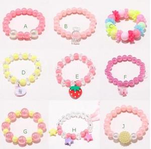INS bonito 9 estilo crianças Jóias acessórios coloridos Estrelas Pérola amor coração encantos pulseira Design Princesa pulseira crianças Presente bonito da jóia menina