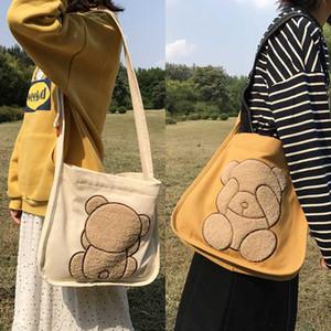 B020121 Çift Taraflı Ayı Nakış Çanta İçin Kadınlar Lady Casaul Canvas Omuz Çantası Kızlar Öğrenci Omuz Schoolbag