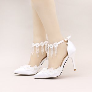 Lovely2019 Flower Lace White Rhinestone Shoes Crystal Wrist Bring Bride Sharp Fine With Woman Sandals Full Wedding Dress Shoe
