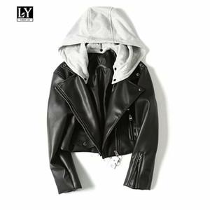 Ly Varey Lin 후드 가짜 부드러운 가죽 여성 짧은 Pu 재킷 오토바이 지퍼 모자 분리 여성 코트 펑크 블랙 겉옷