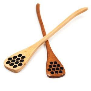 Madera tallada Stir Miel Miel Cuchara de nido de abeja de la miel de cocina Vajilla tallado Herramientas Accesorios de madera Ambiental huevo cuchara EEA1255-1