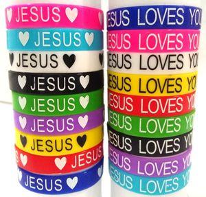 50 pcs Jesus Pulseiras De Silicone Jesus Ama Você Pulseiras de Borracha Homens Mulheres Religiosas Manguito Crianças Jesus Jóias Atacado J190722