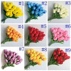 PU Flores Artificial Silk tulipas real toque de flores mini-Tulip Wedding Bouquet decorativa decorações de casamento Artificial Decor DHB488
