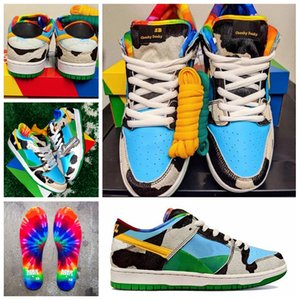 (With Box) Top Quality Ben & Jerrys x SB Dunk Low Chunky Dunky White Lagoon Pulse-Black-Universit Running Shoes Skateboard Sports Sneakers