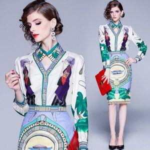 Luxus Gedruckt Zwei Stücke Sets Kleid Frühling Herbst Runway frauen Langarm Hemd + Rock Anzug Büro Dame Business Sexy Dünnes Wickelkleid