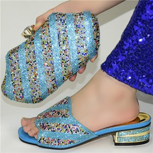 Sky Blue Color African Shoes With Matching Bags Set Nigerian Women's Party Shoes and Bag Sets High Slipper And Handbag