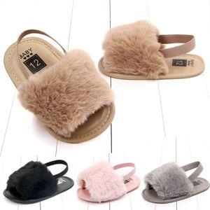 2020 envío libre de la piel de imitación de bebé sandalias infantiles de chicas suave Único zapatas de deslizamiento de la felpa de la sandalia de los niños zapatos de los deslizadores