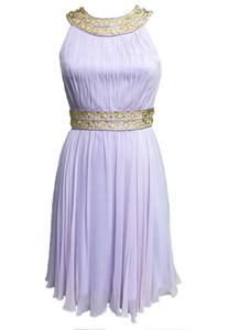 2019 New Elegant Pleated Soft Silk Chiffon Round-Neck Halter Neck Beaded Stone Evening Short Party Cocktail Graduation Dress