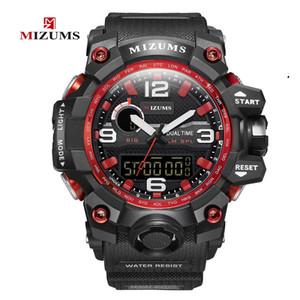 Mizums degli uomini di marca orologi sportivi doppio display analogico a LED elettronico digitale orologi del quarzo di nuoto impermeabile Military Watch
