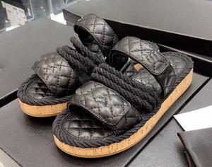 2019 женщин сандалии Camillia веревки ремешок черный белый кожа 35-40 Мода кожаные роскошные сандалии на плоской подошве каблук пляжная обувь с коробкой