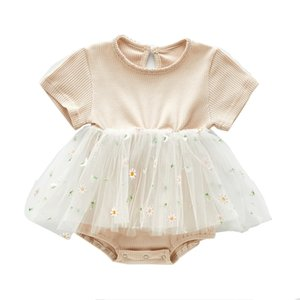 Ins Baby clothing Summer 100% cotton romper Round Collar Mesh Patchwork Short sleeve Girl Infant romper Baby Elegant clothing