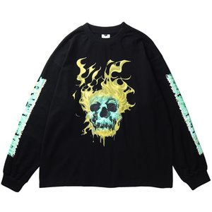 Hommes Hip Hop T-shirt à manches longues crâne feu Streetwear Harajuku T-shirt oversize printemps HipHop en vrac T-shirt de coton T-shirts Tops