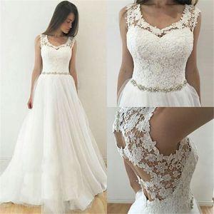 Алин кружева свадебные платья Scoop шеи с бисером плюс размер Hollow Назад Свадебные платья выполнено на заказ